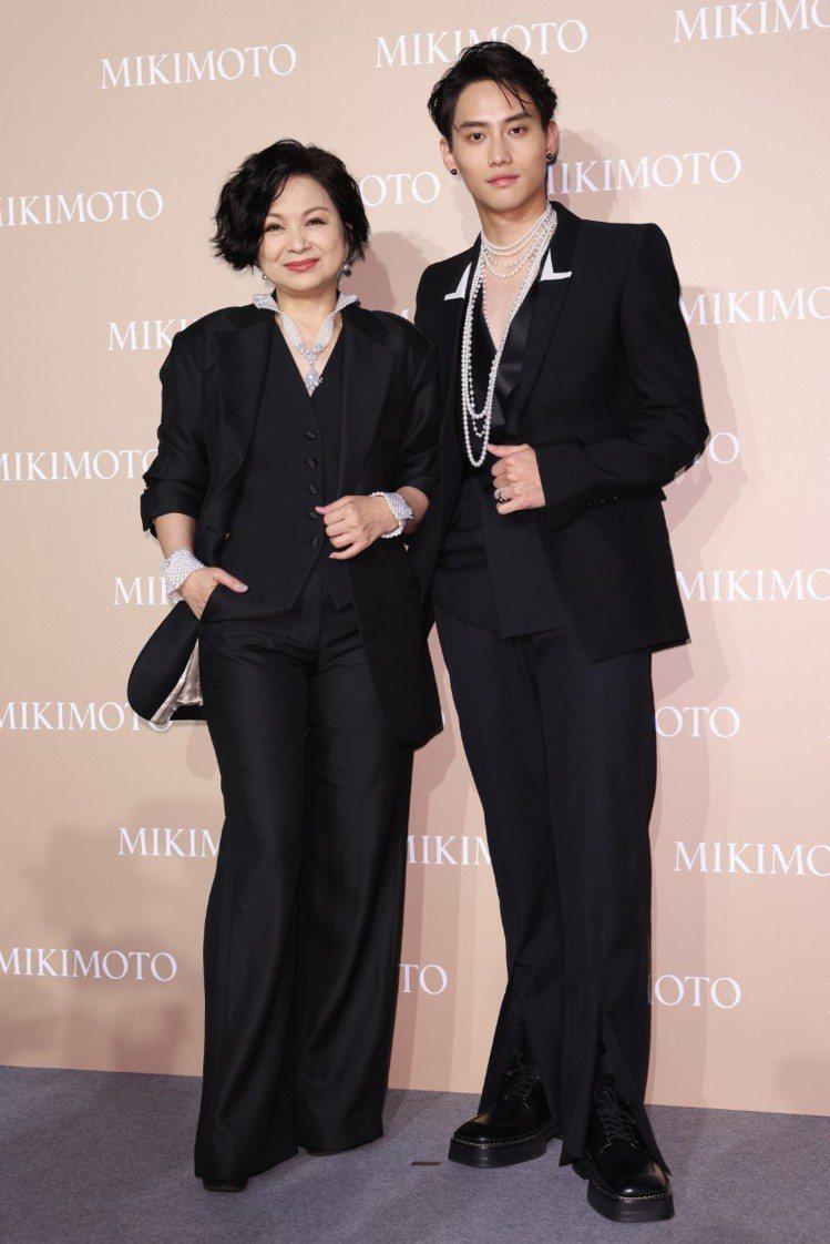 楊貴媚與范少勳出席My Mikimoto, My Style頂級珠寶展。記者沈昱...