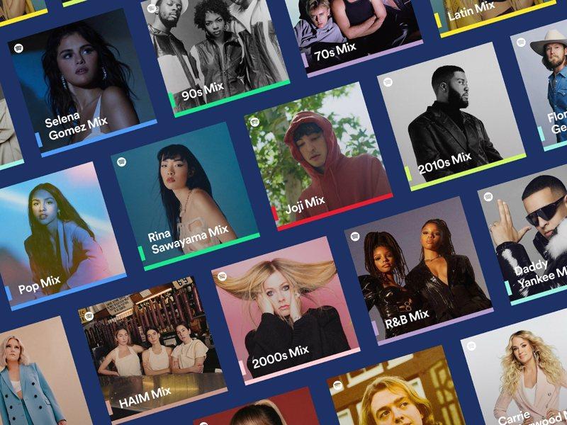 Spotify Mixes內建個別使用者喜愛的歌曲,並持續更新推薦Spotify認為你會喜愛的歌曲。圖/Spotify提供