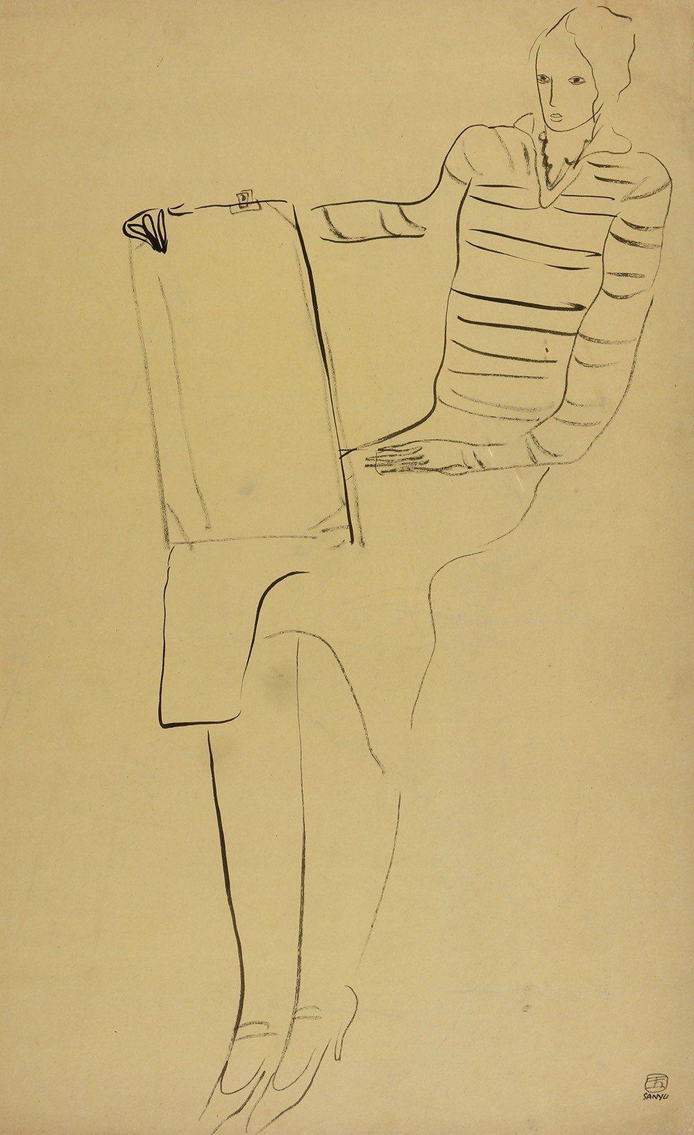 華人油畫藝術大師常玉於1920至1930年所創作「人物」,為素描紙本,起拍價60...