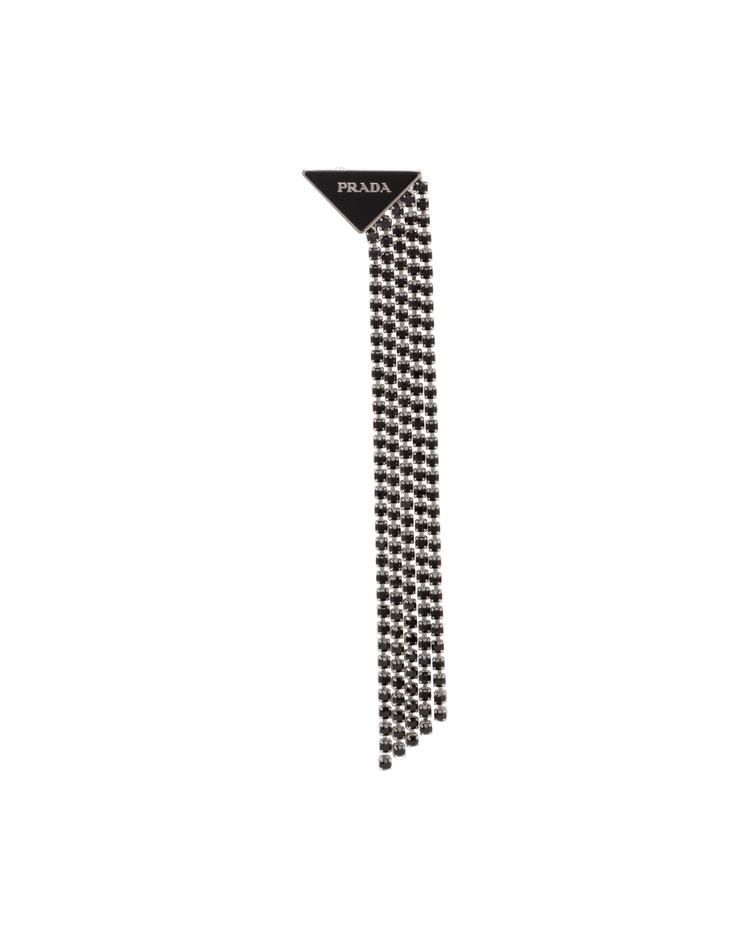 三角標誌流蘇單支耳扣,14,000元。圖/PRADA提供