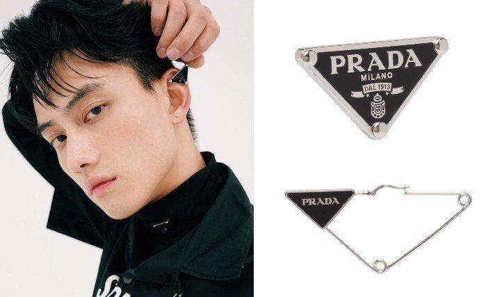 范少勳以PRADA男裝搭配三角Logo單邊耳扣,更顯帥氣瀟灑。圖/摘自IG