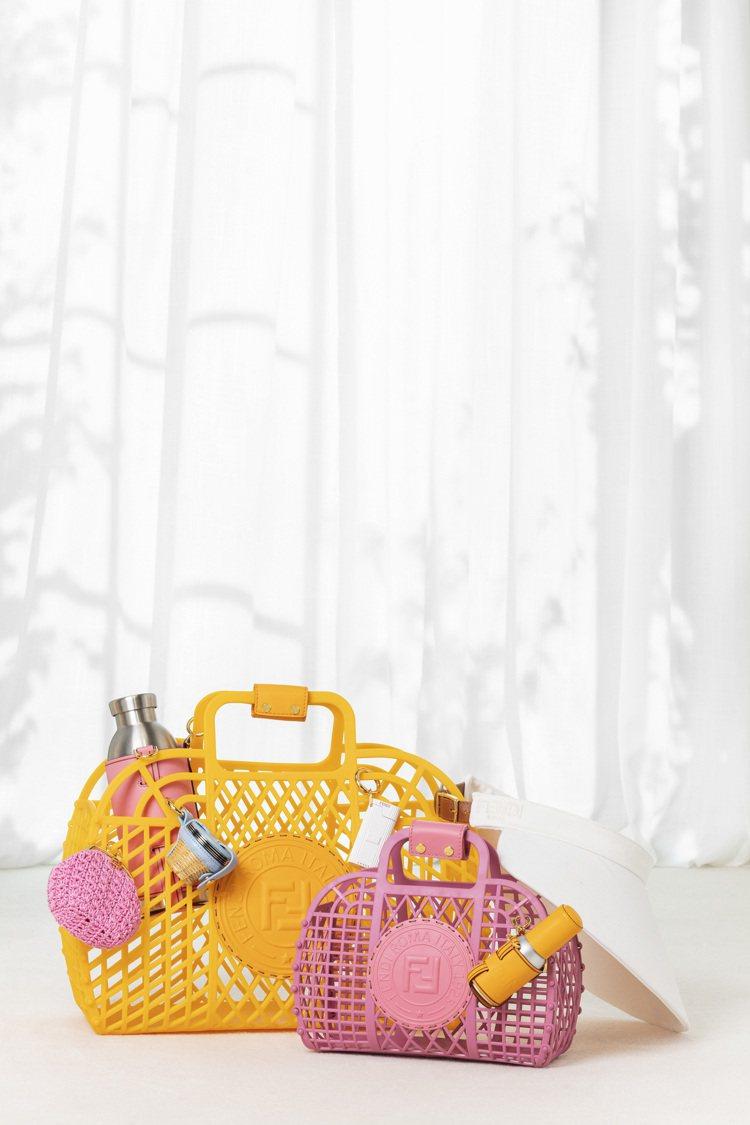 FENDI Basket包款有各式繽紛的顏色,以八○年代海灘包的輪廓為靈感設計。...