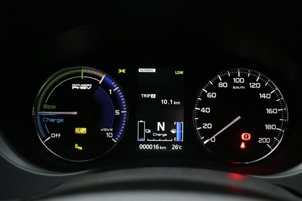 Outlander PHEV採用傳統雙環式指針儀表設計,搭配中央多功能資訊幕。 ...