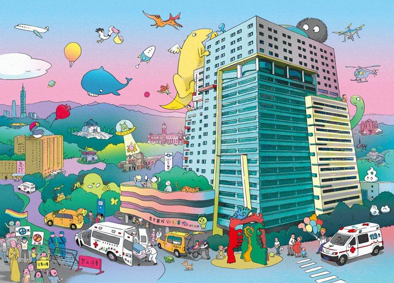 《台大兒童醫院多多書》的書封就有兒童專屬救護車「惟惟號」的故事。飛行船文化提供