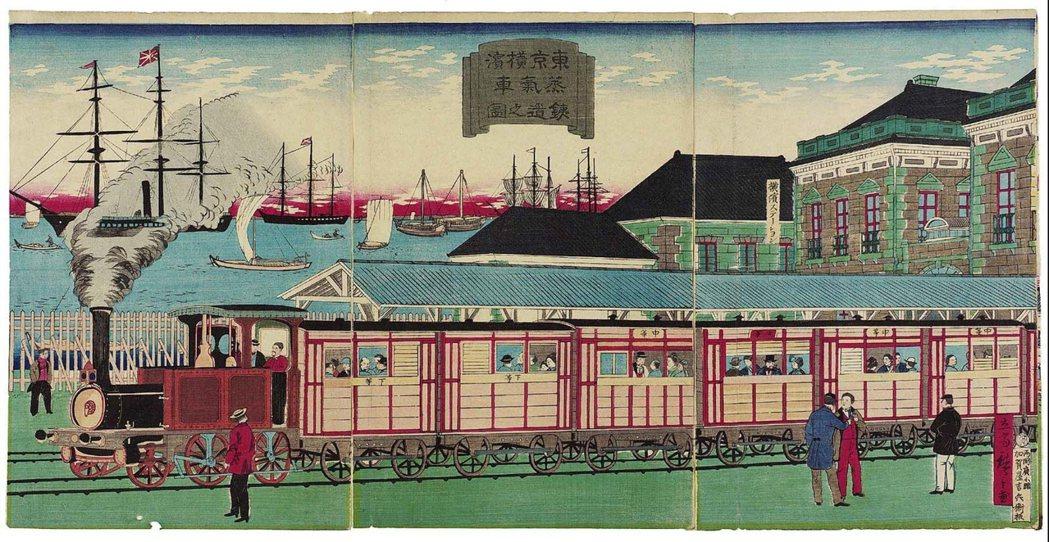 1874年浮世繪〈橫濱鐵道〉。 圖/歌川廣重