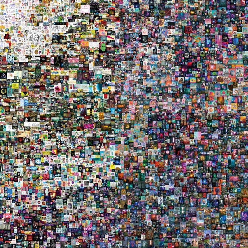 Beeple〈每一天:前5000天〉,非同質化代幣(jpg),21,069 x 21,069像素(319,168,313位元組) 2021年2月16日作,成交價69,346,250美元。 (圖 / 佳士得提供)