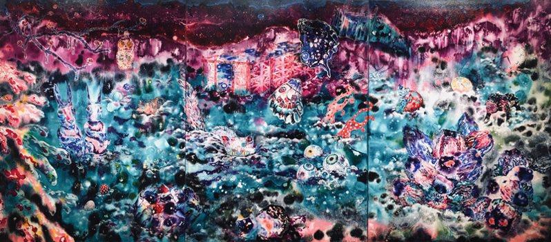 王亮尹  天使、蘋果、野獸  壓克力顏料、畫布  178x400cm  2021