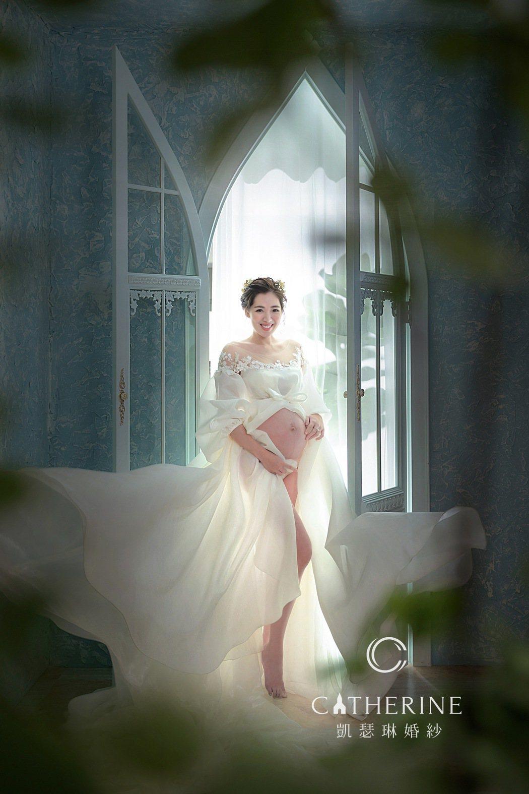 劉伊心在產前留下最美的紀錄。圖/凱瑟琳婚紗攝影