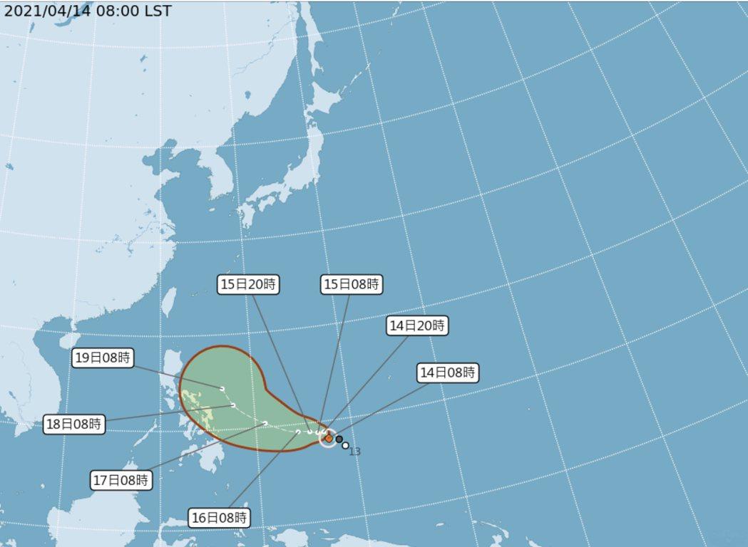 舒力基颱風上午8時位置。圖/氣象局