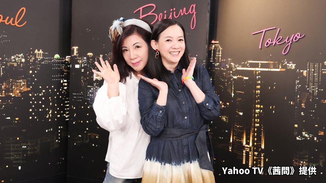 曾寶儀(右)上陳文茜主持的「茜問」。圖/Yahoo TV提供
