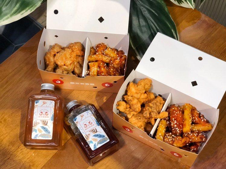 「台韓雙雞分享餐」一次就能吃到韓式炸雞與台式香香炸雞,還有韓式辣炒年糕相伴,每套...