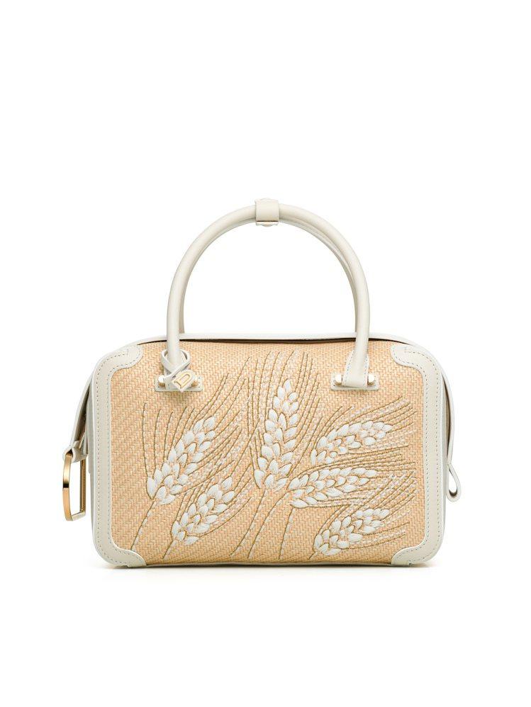 DELVAUX Cool Box Wild Wheat拉菲草與牛皮滾邊手袋,10...