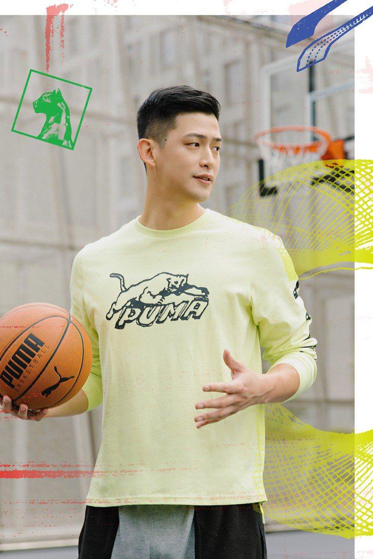 陳孝榮演繹PUMA Hoops系列T恤1,480元、Standby短褲2,280...