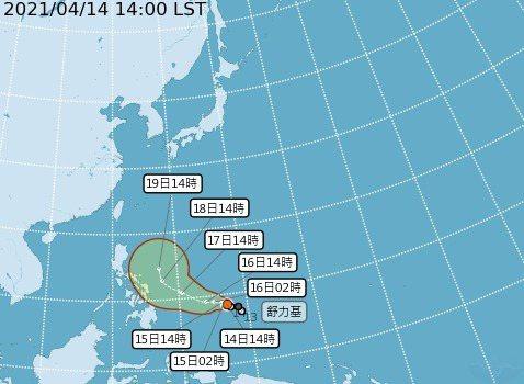 舒力基颱風緩慢移動中。圖/氣象局