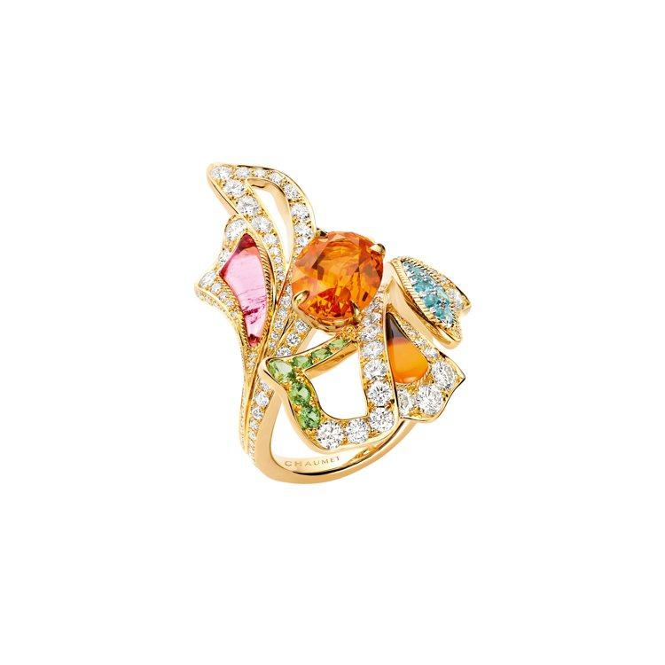Éclosion de Chaumet 18K黃金戒指,鑲嵌單顆重3.98克拉...