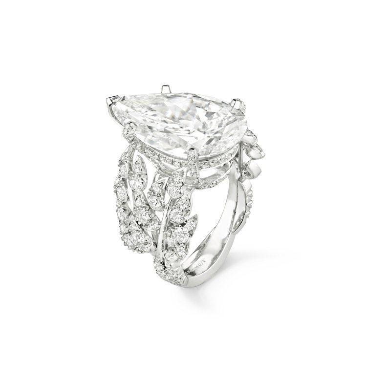 L'Epi de Blé 18K白金戒指,鑲嵌單顆D/FL Type...