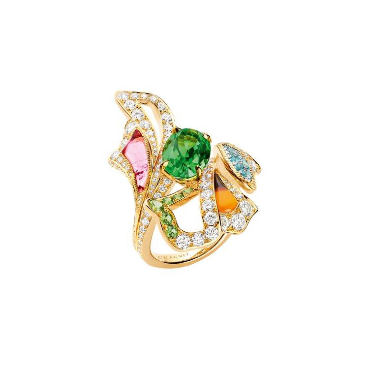 Éclosion de Chaumet 18K黃金戒指,鑲嵌單顆重3.33克拉...