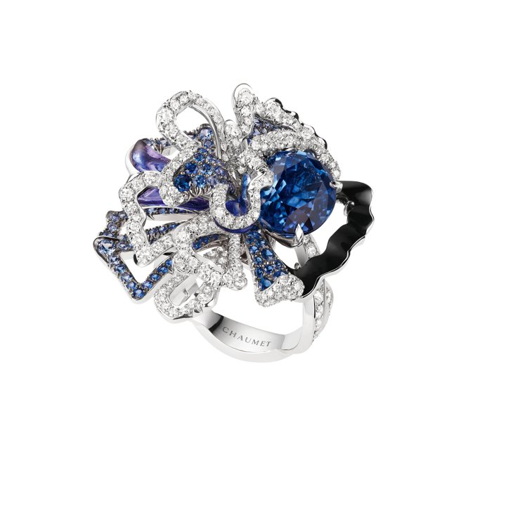 Esquisse de Chaumet 18K白金戒指,鑲嵌單顆重6.05克拉橢...