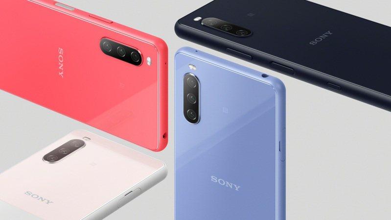 Sony Xperia 10 III共有水漾藍、水漾粉、水漾黑、水漾白等4色,預計將於今年初夏在台灣上市。圖/Sony Mobile提供