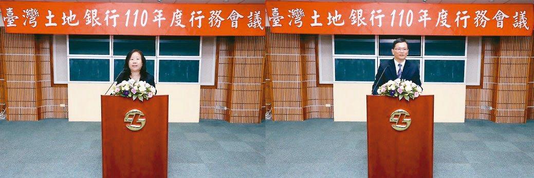臺灣土地銀行董事長謝娟娟(左)、總經理何英明出席行務會議。土銀/提供