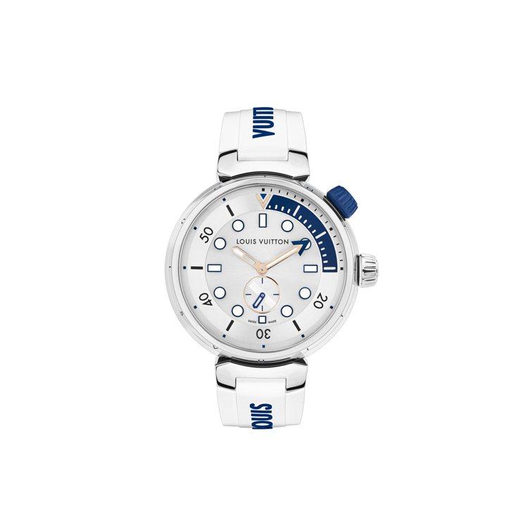 路易威登Tambour Street Diver太平洋白腕表,44毫米拋光不鏽鋼...