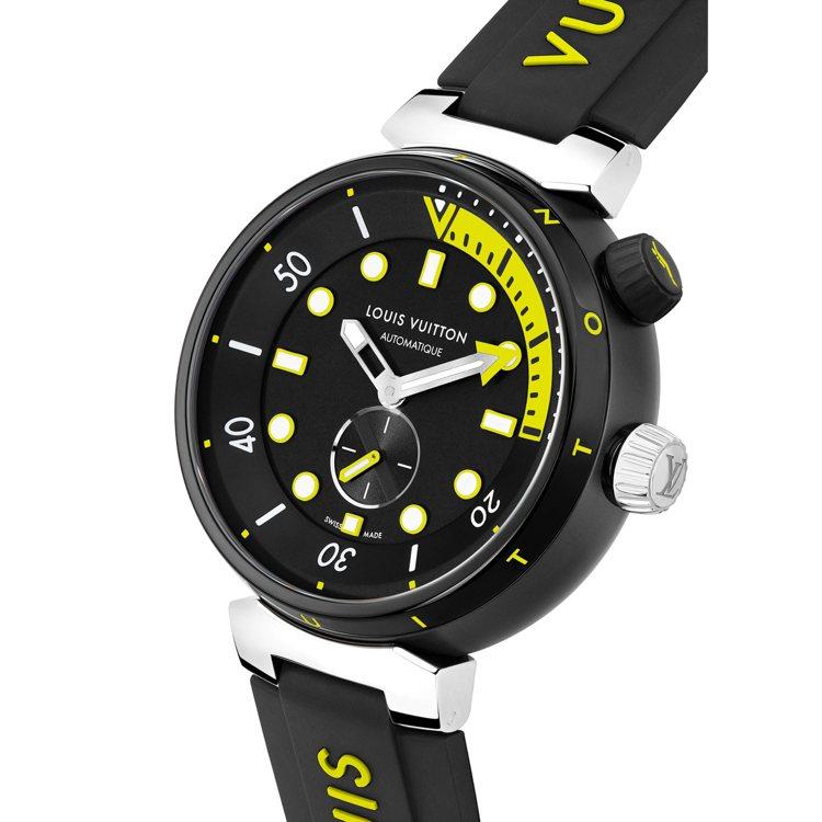 路易威登Tambour Street Diver霓虹黑腕表,44毫米黑色PVD塗...