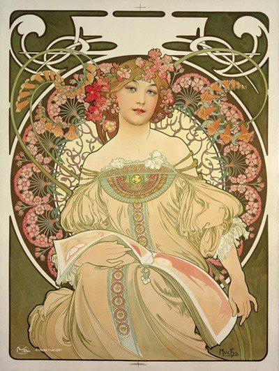 以優美的線條融合植物與女性是慕夏作品的重要特色。 圖/聯合數位文創