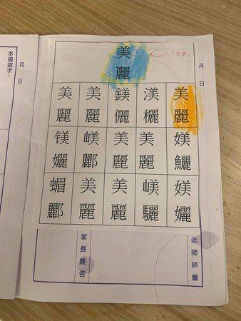 一名媽媽貼出一張幼稚園的親子作業照。