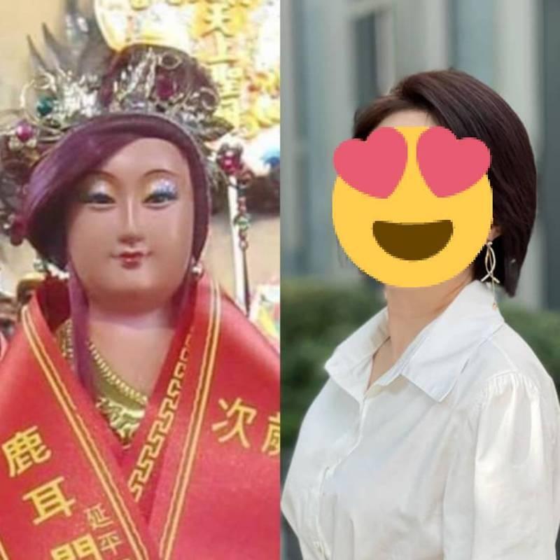 壹電視主播李美萱(右)和媽祖神像有明星臉。 圖擷自李美萱臉書