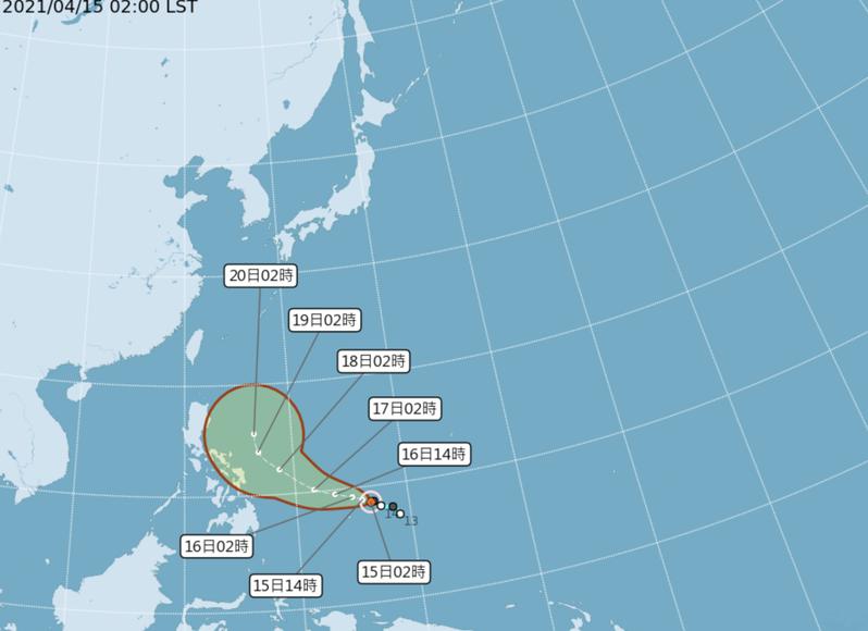 舒力基前4天先受太平洋高壓南側的偏東南東風導引,向西北西朝菲律賓接近,第5天進入鞍形場轉北,再逐漸受到西風帶的導引,向東北東大迴轉,逐漸加速遠離。無侵台機率,也無紓解旱象的可能。圖/氣象局提供