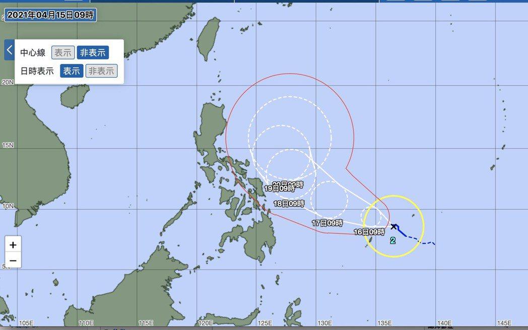 根據日本氣象廳的颱風路徑預報,舒力基颱風目前正在帛琉東北方海面上。圖/擷取自日本...