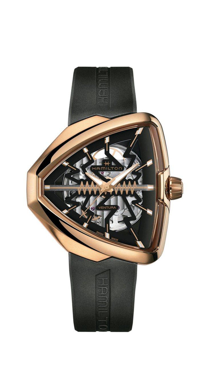 擁有閃電或心跳符碼的Ventura腕表,使用了新款H10-S自動上鍊機芯具備80...