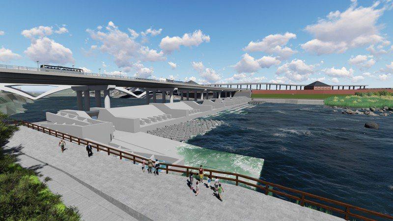 新碧潭堰完工模擬示意圖。圖/新北水利局提供