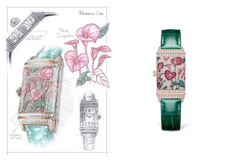 四款REVERSO ONE翻轉系列腕表則將嘗試將不同花卉的嬌嫩、柔美或婉約巧妙捕...