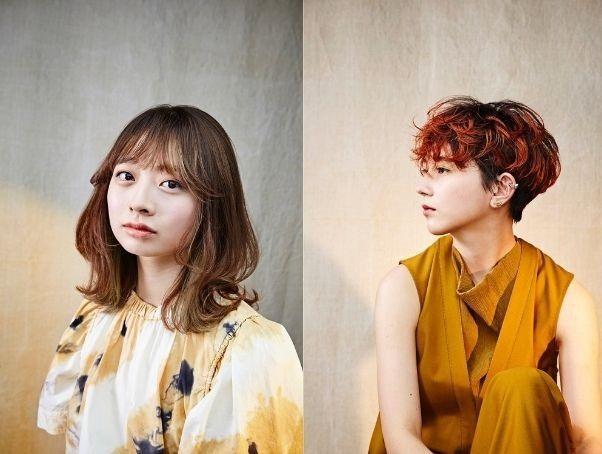 左:「溫柔大地」以茶棕與粉紅色不規則挑染,不挑膚色與年齡,也適合搭配短髮。右:「...