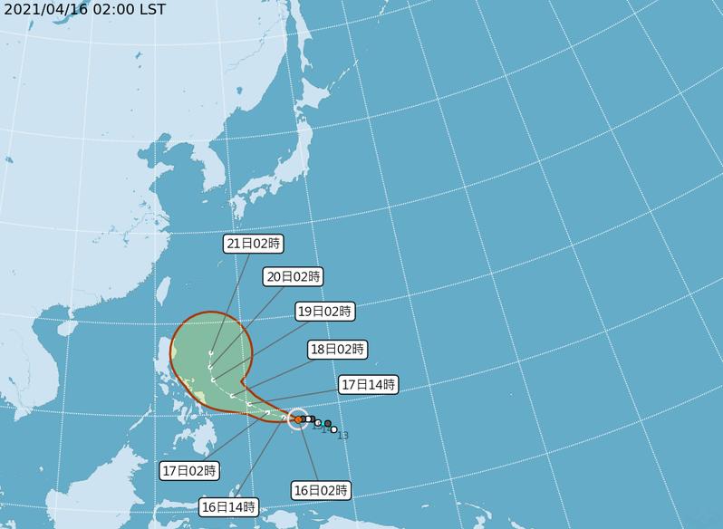中央氣象局路徑潛勢預測圖顯示,舒力基颱風前3天先受太平洋高壓西南側的東南東風導引,向西北西朝菲律賓接近,第4、5天進入鞍形場轉北緩慢前進。圖/取自氣象局網站