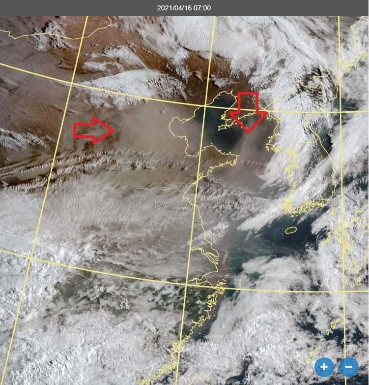 鄭明典表示,中國華北又來沙塵暴,現在衛星很容易辨識沙塵暴,今年很多次了,近10年來少見。圖/取自鄭明典臉書