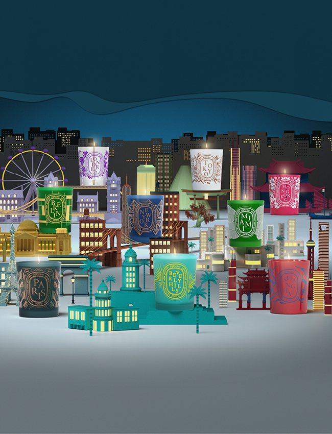 DIPTYQUE城市限定香氛蠟燭(上圖由左至右)巴黎、柏林、倫敦、紐約、比佛利、...