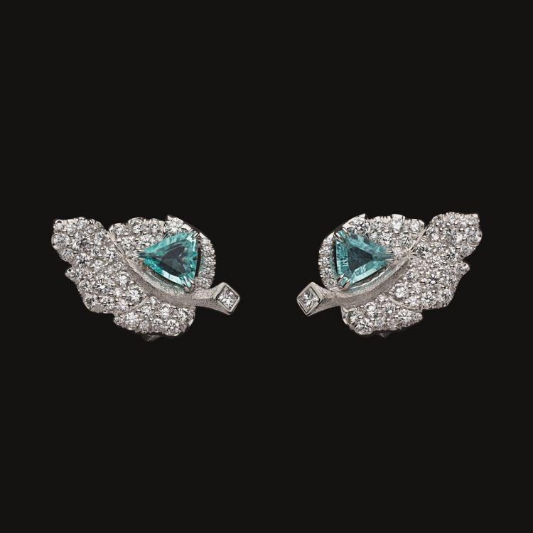 RoseDior Bleu de Sèvres三角形切割帕拉依巴碧璽鑽石耳環,...