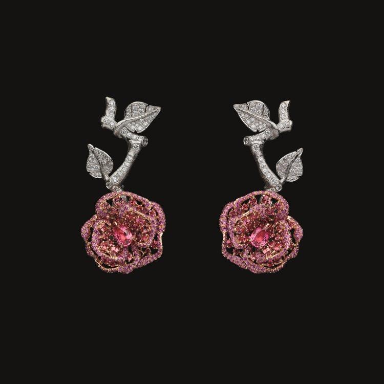RoseDior Rose Carmin粉紅尖晶石鑽石耳環,1,200萬元。圖/...