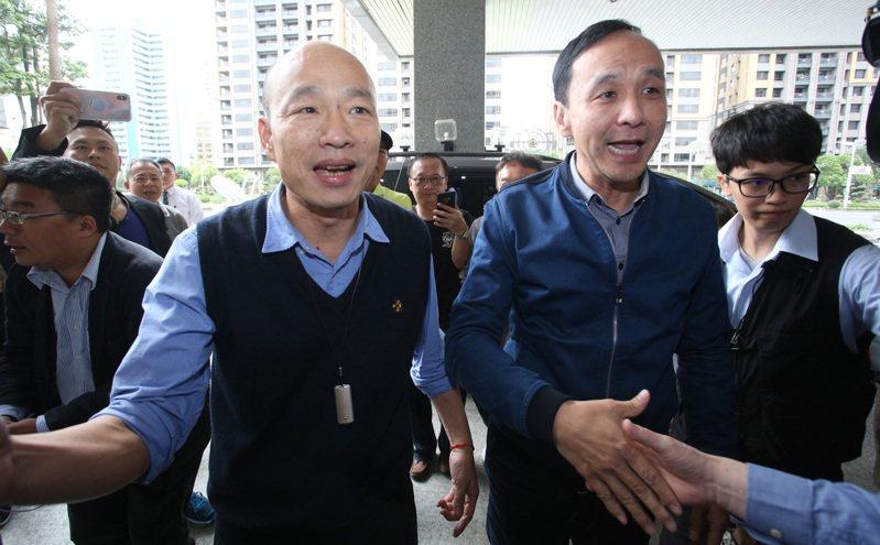 韓國瑜(左)挑戰黨魁大位要先克服反對聲浪,近期喊出全面合作的朱立倫(右),對黨主席大戰動向仍成謎。圖/聯合報系資料照片