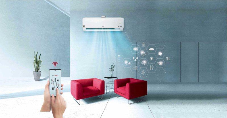 LG DUALCOOL WiFi雙迴轉變頻空調2021年全系列皆內建WiFi功能,打造完整家用物聯網生態。圖/LG提供