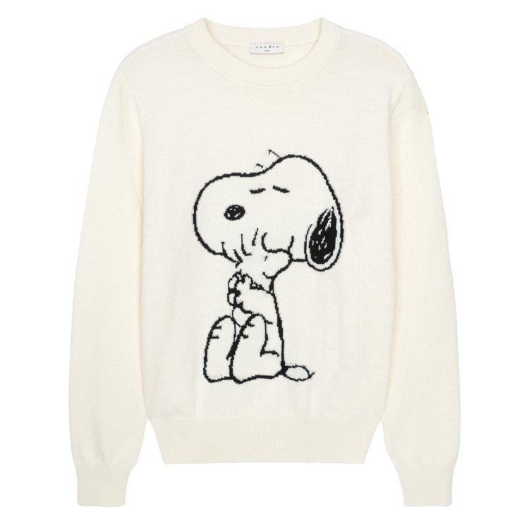 sandro Homme X Snoopy白色圓領衛衣,6,730元。圖/san...