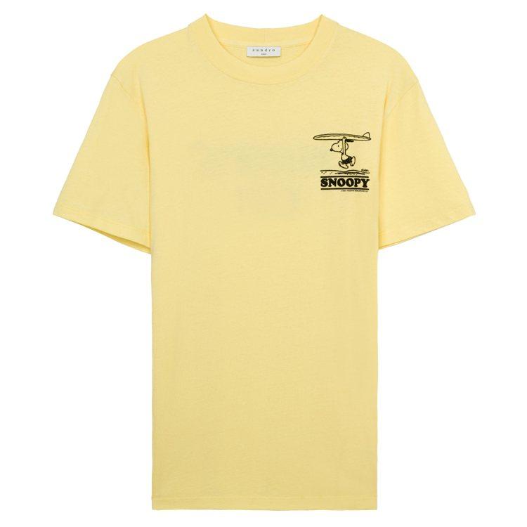 sandro Homme X Snoopy黃色T裇,3,950元。圖/sandr...