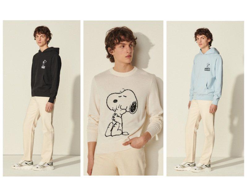 輕奢男裝sandro Homme與花生漫畫Snoopy推出春夏聯名限量系列。圖/sandro Homme提供