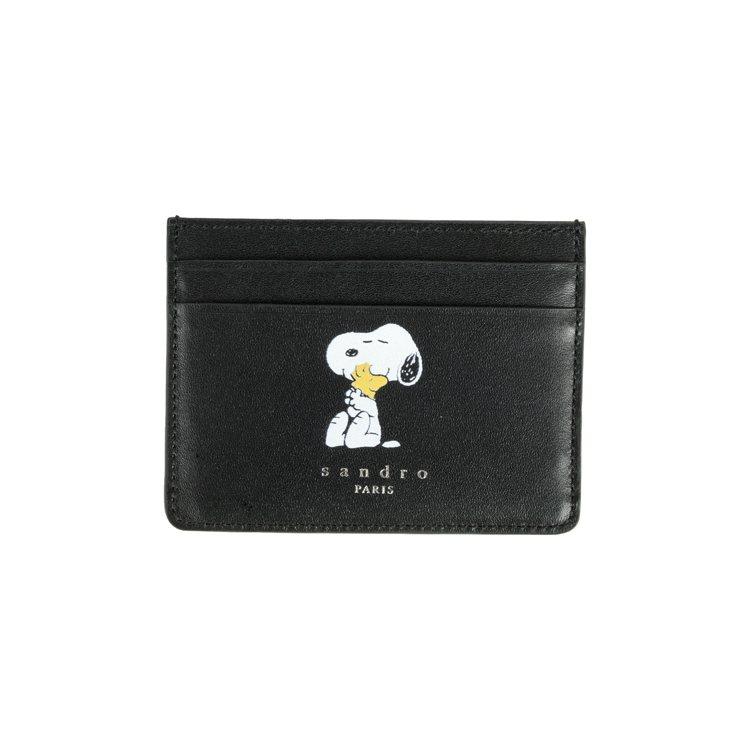 sandro Homme X Snoopy黑色卡夾,3,710元。圖/sandr...