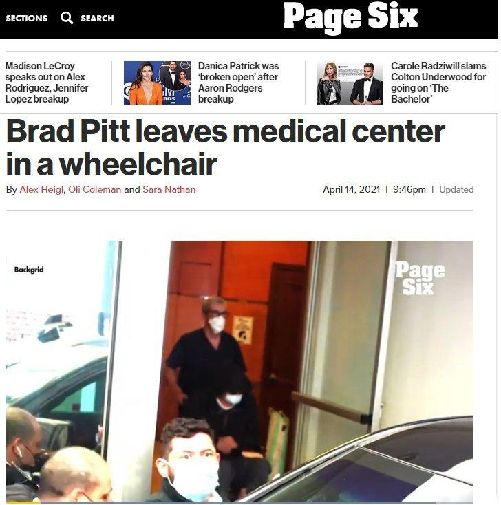 布萊德彼特被拍到坐輪椅(畫面中)被推出醫院,各方驚訝,據稱其實只是拔智齒。圖/摘...