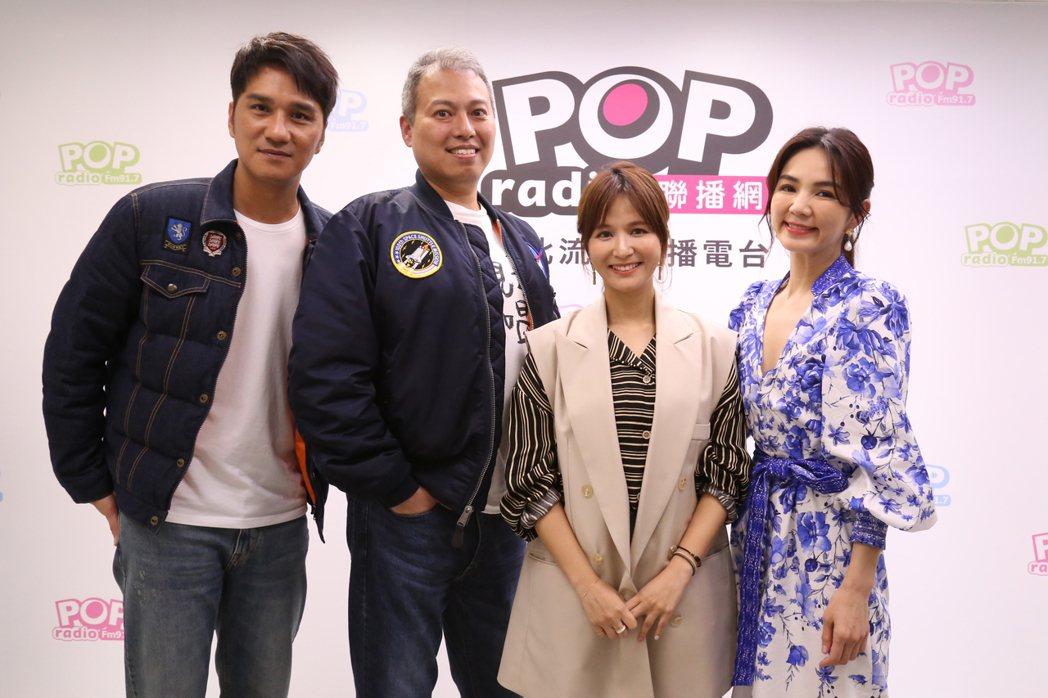 電影「聽見歌 再唱」男女主角馬志翔(左起)、導演楊智麟和Ella(右)作客「PO