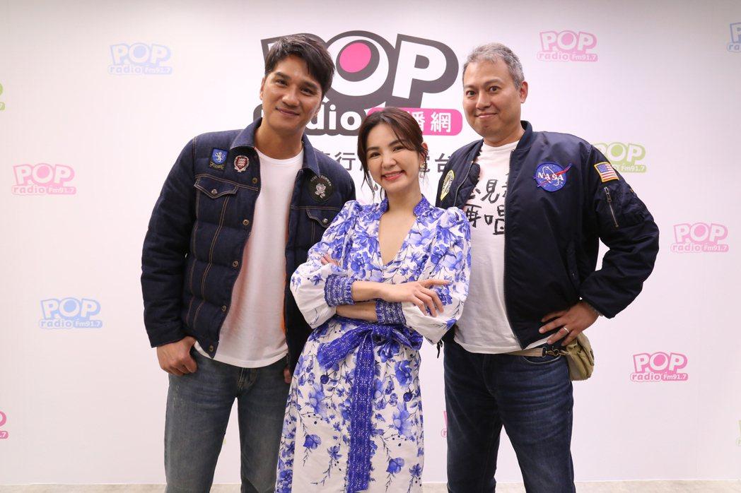 電影「聽見歌 再唱」男女主角馬志翔(左起)、Ella和導演楊智麟作客「POP有夠...
