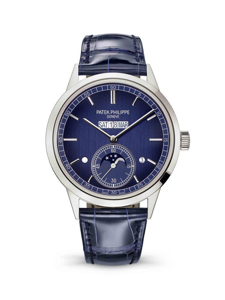 編號5236P-001並列顯示萬年曆腕表,41.3毫米鉑金表殼配垂直磨拭加工藍色...